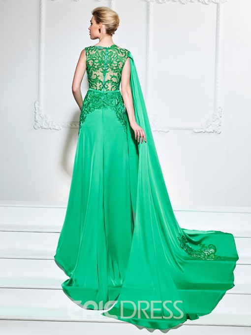 Ericdress A Line Bateau Neck Applique Lace Evening Dress With Court Train