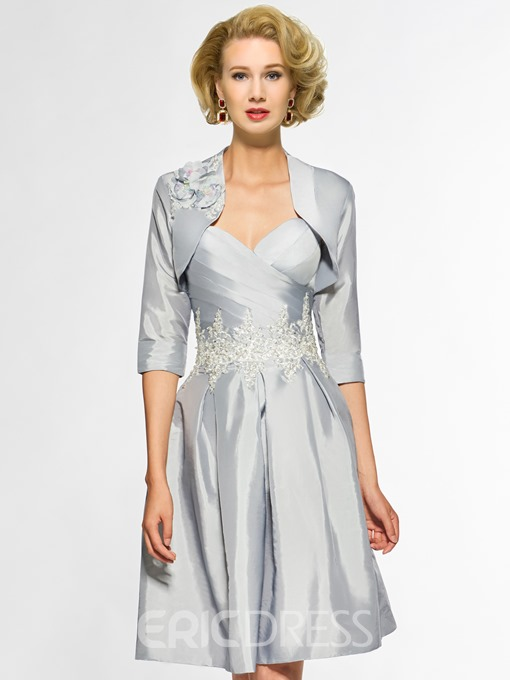 Ericdress Sweetheart A Line Appliques Knee Length Mother Of The Bride Dress with Jacket