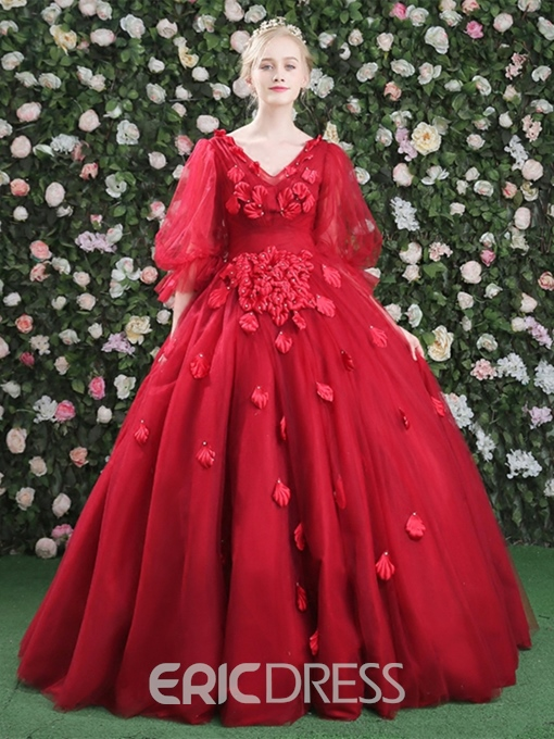 Ericdress V-Neck Half Sleeves Ball Gown Vintage Quinceanera Dress