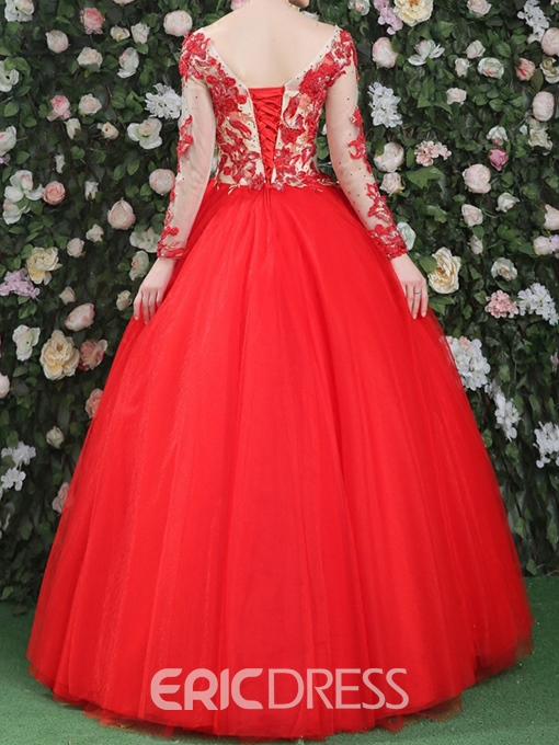 Ericdress Long Sleeves Appliques Beading Ball Gown Scoop Quinceanera Dress