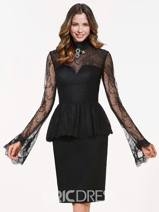 Ericdress High Neck Long Sleeves Crystal Lace Knee-Length Cocktail Dress