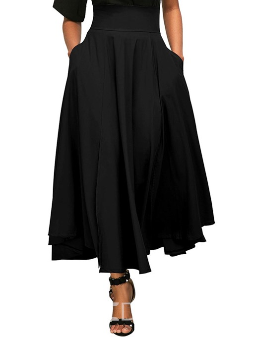Ericdress Lace-Up Plain Pleated Pocket High-Waist Skirt