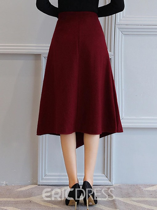 Ericdress Asymmetrical Mid-Calf Plain High Waist Skirt