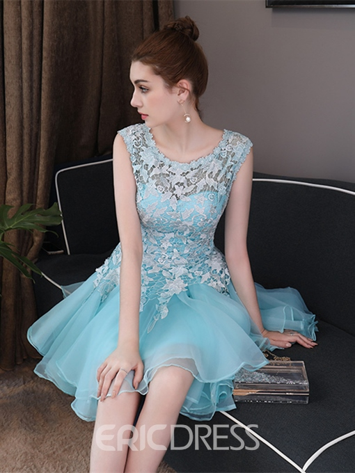 Ericdress A Line Scoop Neck Lace Applique Short Homecoming Dress