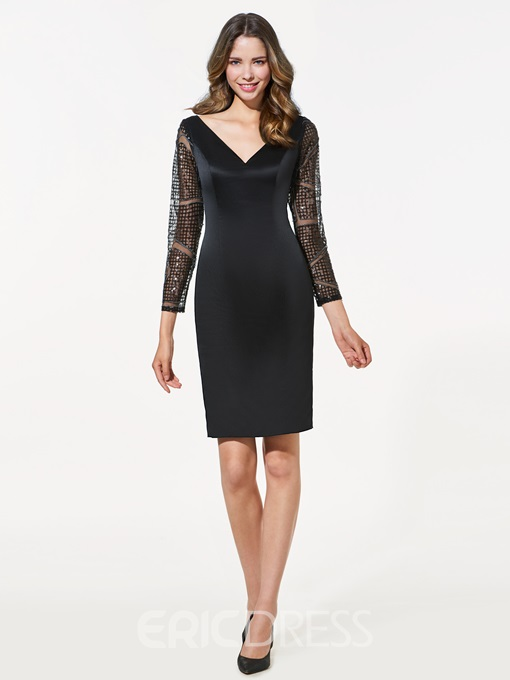 Ericdress Sheath Long Sleeves V-Neck Lace Mini Cocktail Dress