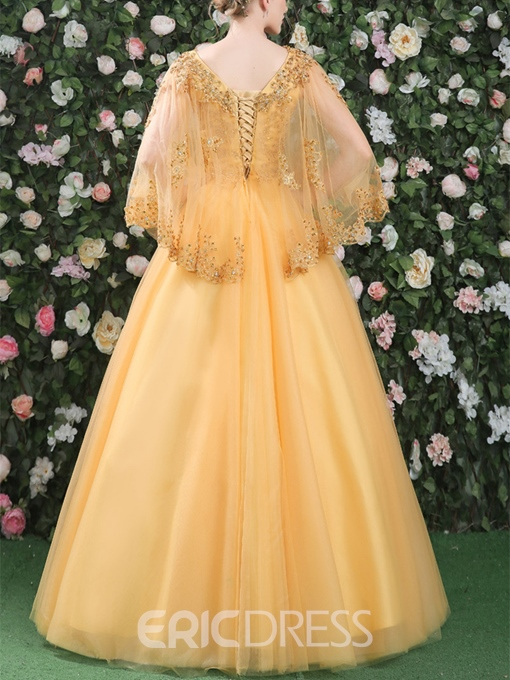 Ericdress Ball Gown Appliques Beading V-Neck Long Sleeves Quinceanera Dress