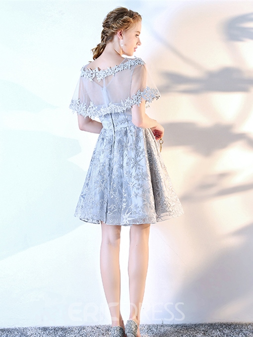 Ericdress A-Line Lace Appliques Short Sleeves Homecoming Dress