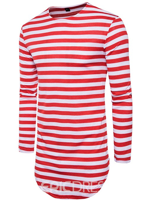 Ericdress Stripe Mid-Length Casual Men's T-Shirt