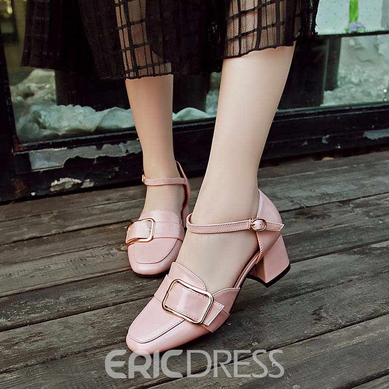 Ericdress Sequin Square Toe Plain Women's Pumps with Buckle