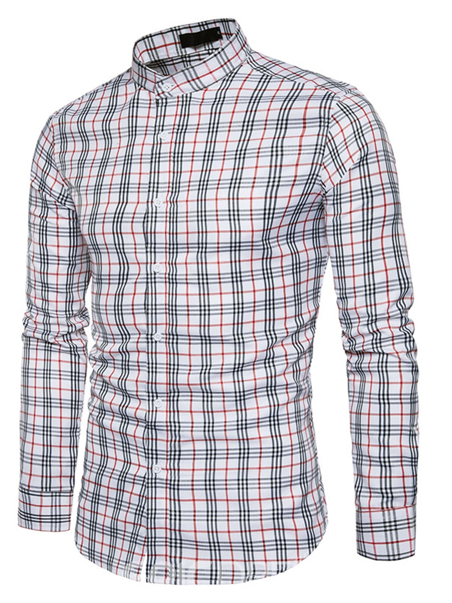 Ericdress Plaid Stand Collar Slim Men's Shirt