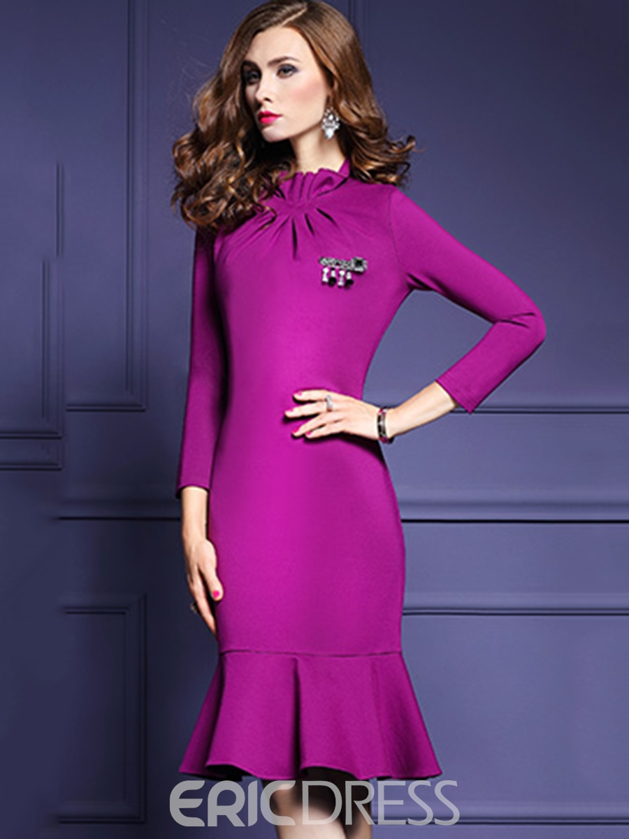 Ericdress Ruffled Collar Nine Pointes Sleeves Mermaid Bodycon Dress