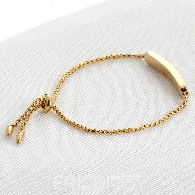 Ericdress Titanium Steel Rose Gold Diamante Adjustable Bracelet