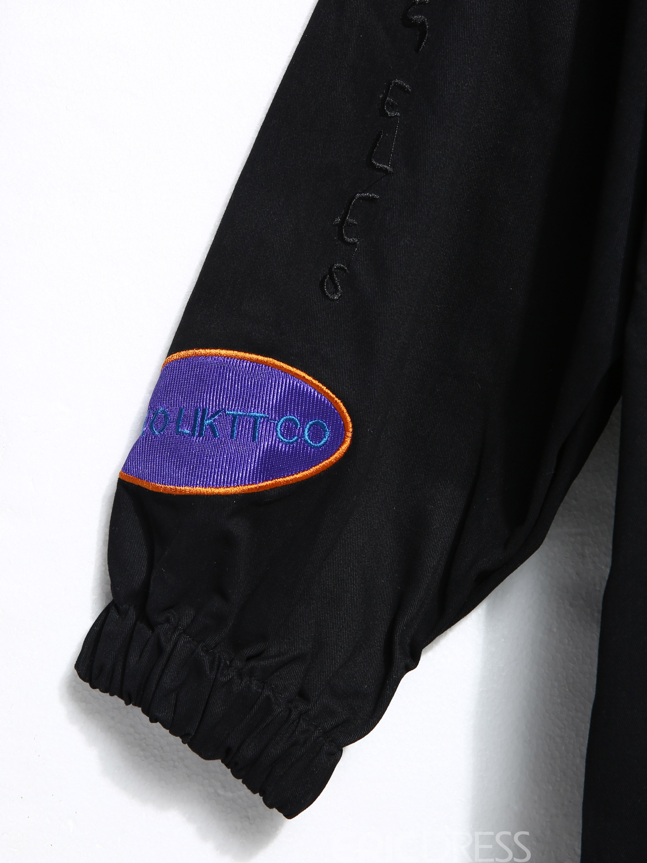 Ericdress Stand Collar Drawstring Letter Embroideried Overcoat