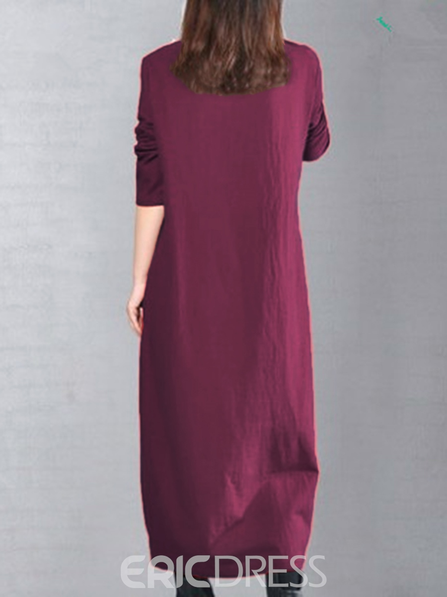 Ericdress Embrodiery Plain Long Sleeve Casual Dress
