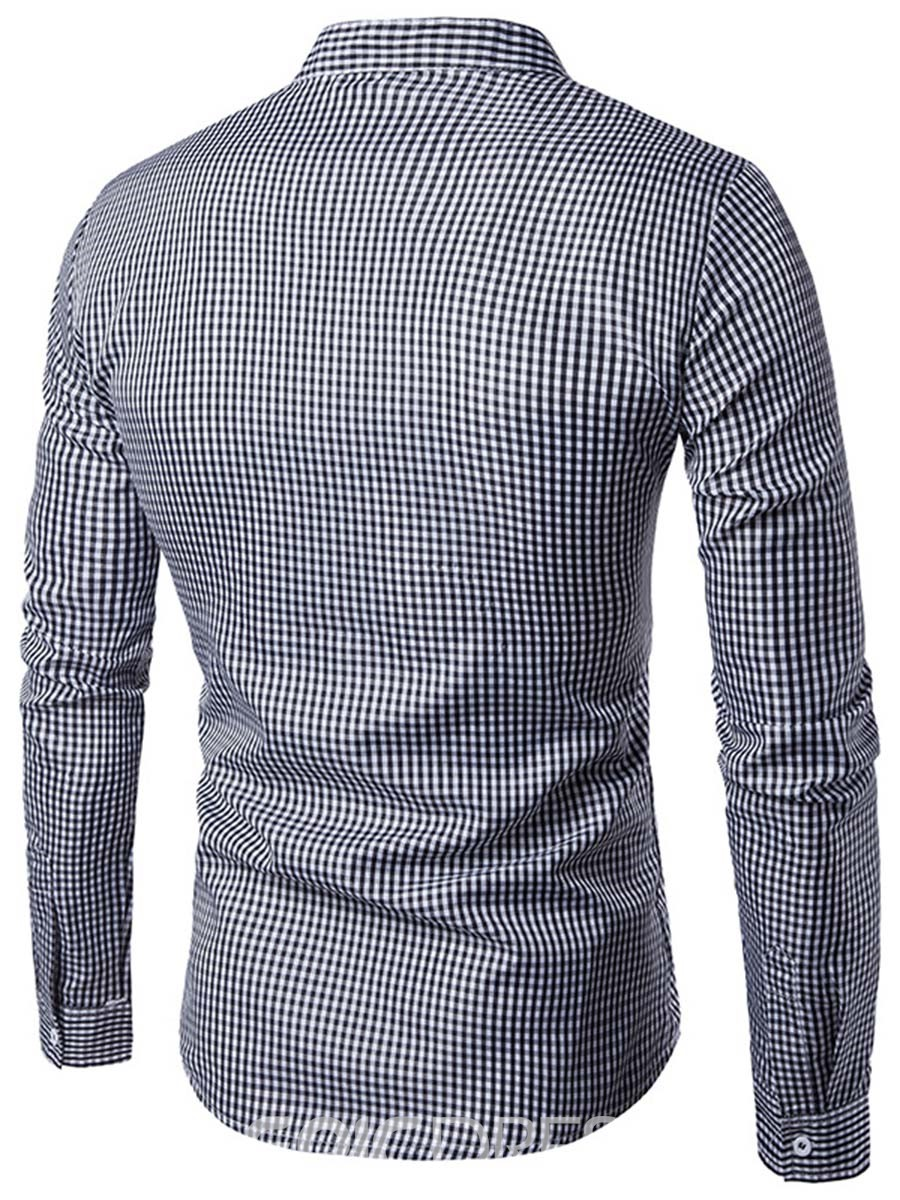 Ericdress Houndstooth Stand Collar Long Sleeve Slim Men's Shirt
