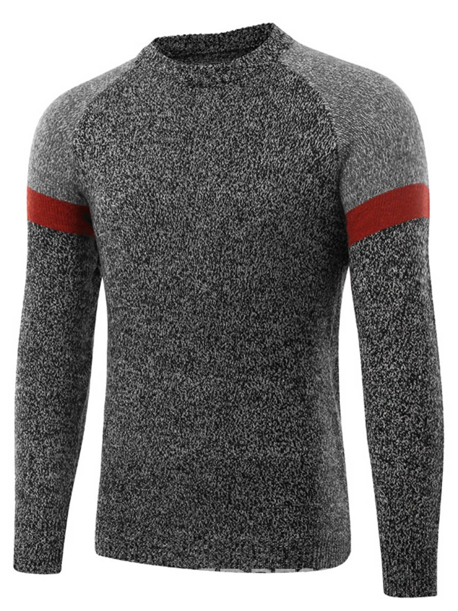 Ericdress Color Block Patched Pullover Men's Sweater