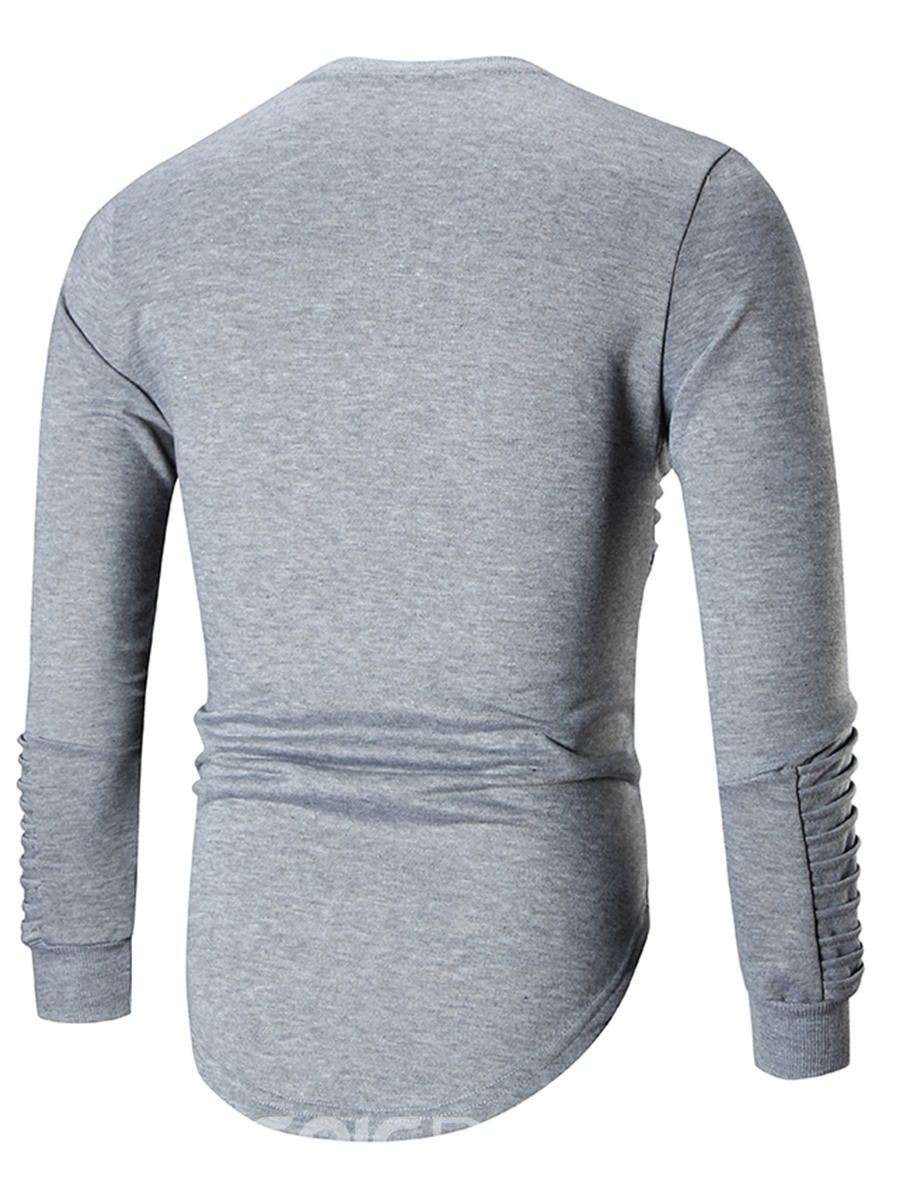 Ericdress Plain Pleated Round Neck Long Sleeve Slim Men's Sweatshirt