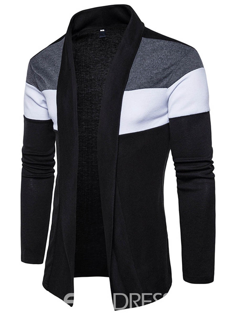 Ericdress Color Block Cardigan Vogue Casual Men's Knitwear