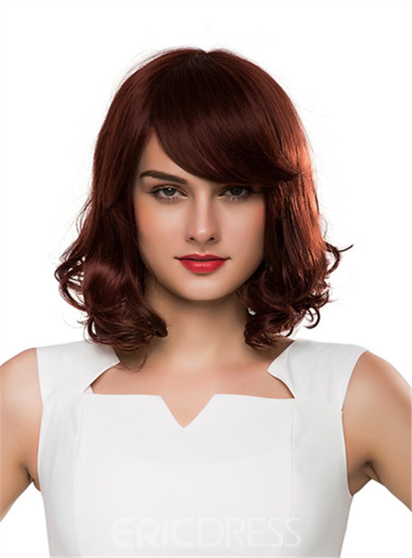 Ericdress Side Fringe End Wave Capless Human Hair Women Wigs 14 Inches