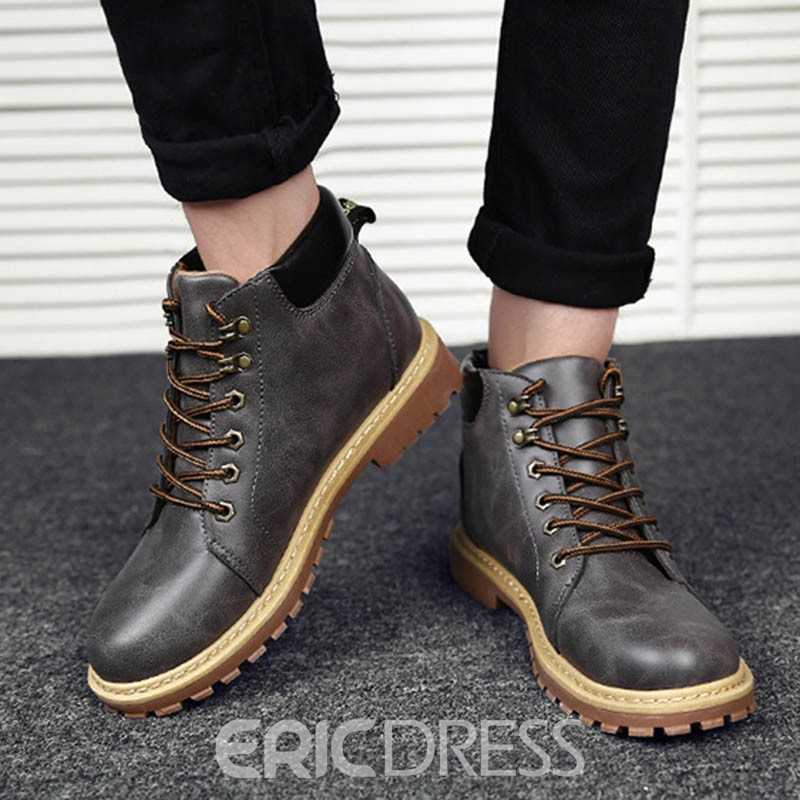 Ericdress New Arrival Round Toe Color Block Men's Martin Boots