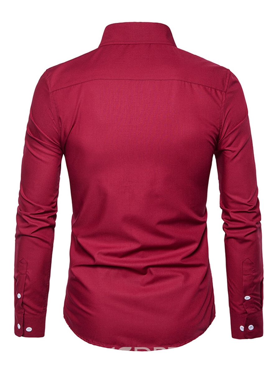 Ericdress Single-Breasted Long Sleeve Slim Men's Shirt