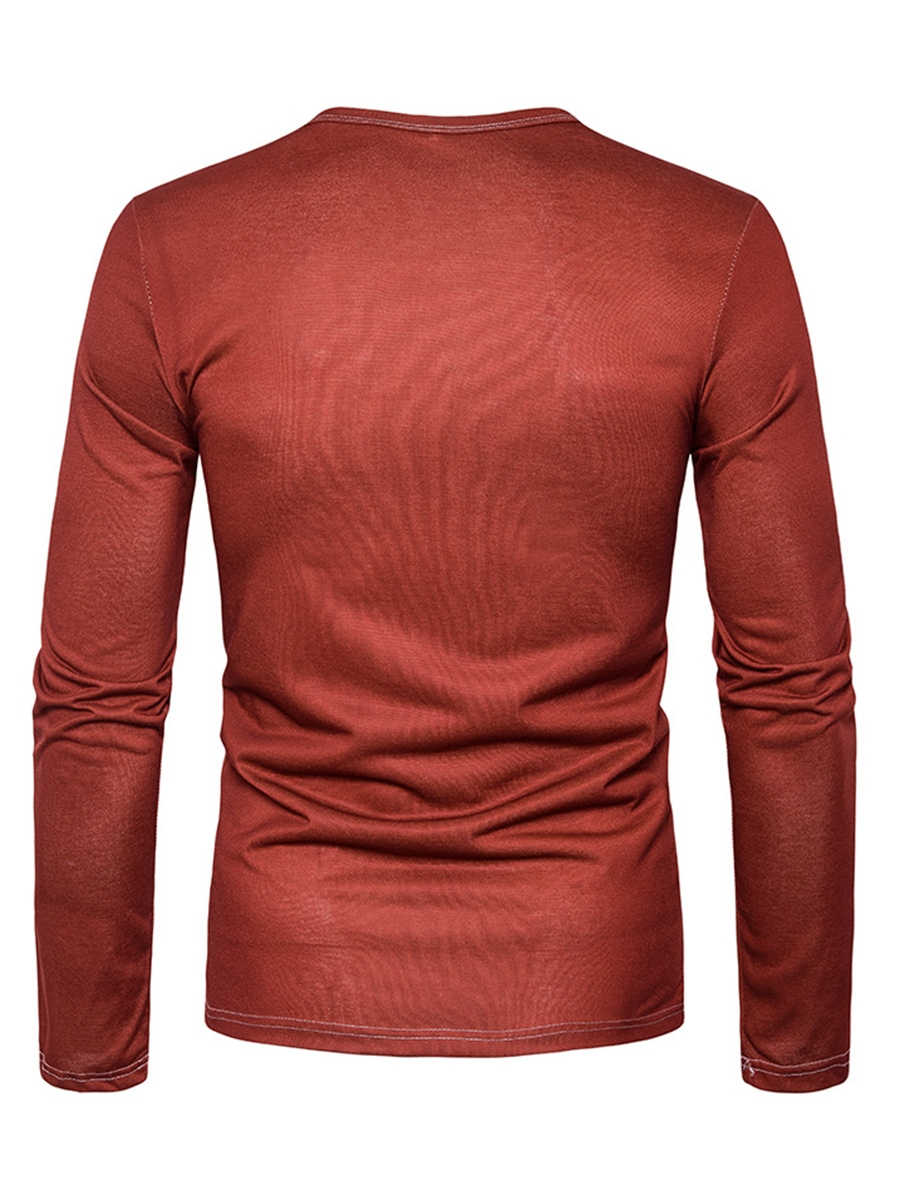 Ericdress Round Neck Print Long Sleeve Chrismas Men's T-Shirt