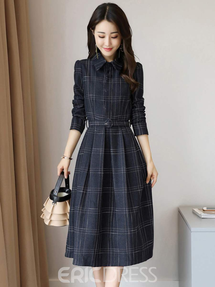 Ericdress Polo Neck Plaid Pleated A Line Dress