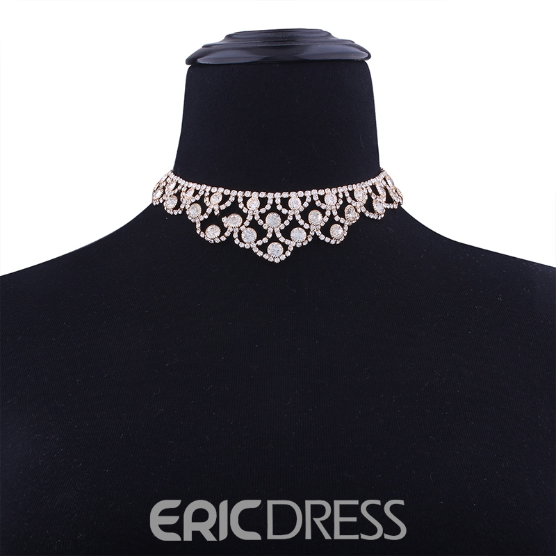 Ericdress Royal Style Diamante Hollow Out Choker Necklace