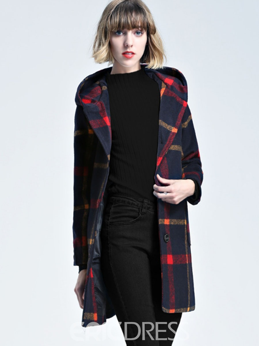 Ericdress Plaid Mid-Length Hooded Coat