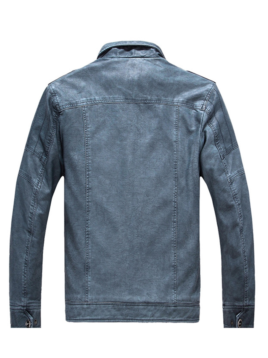 Ericdress Stand Collar Plain Pocket Mens Straight Leather Jacket
