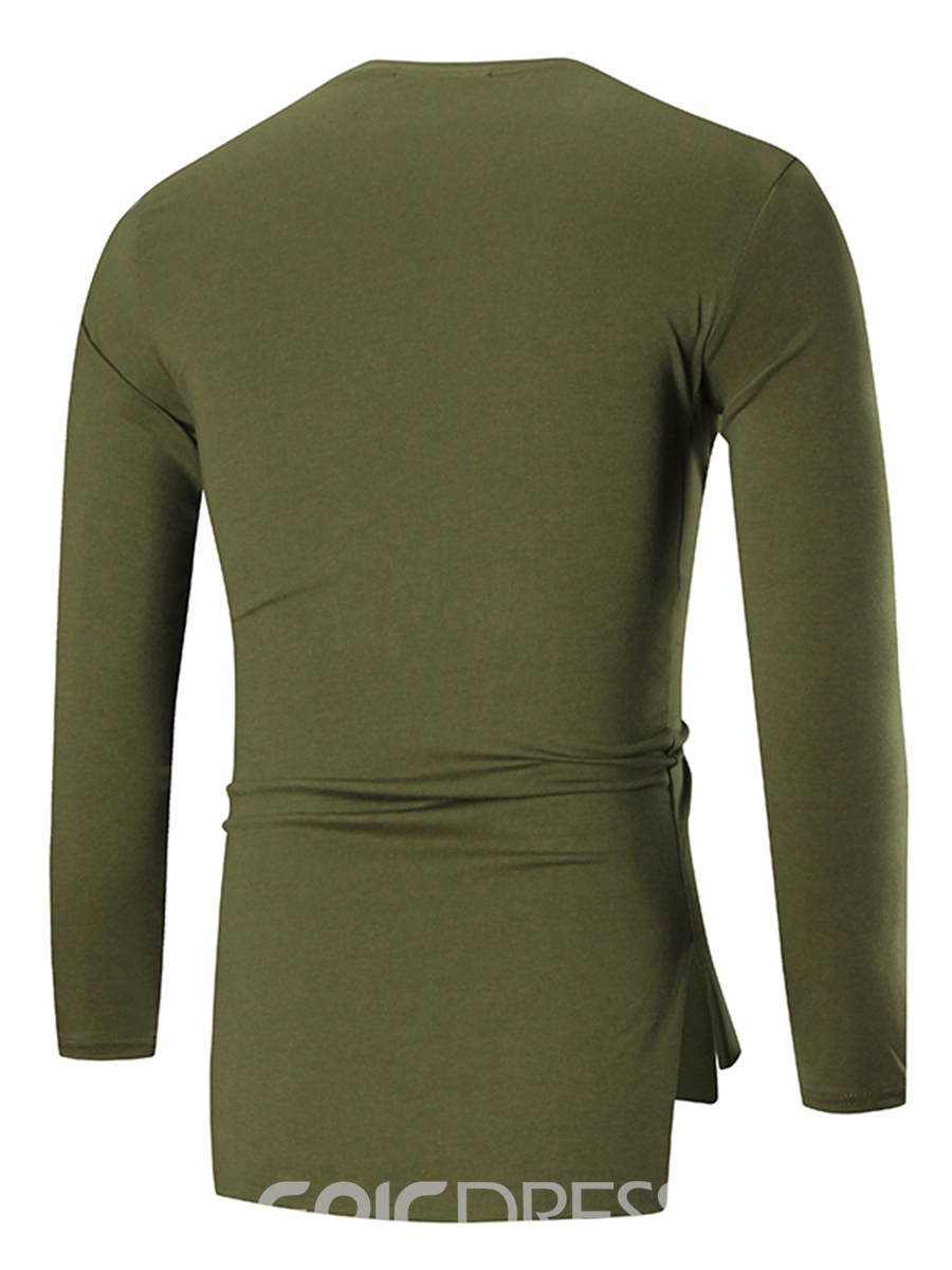 Ericdress Plain Round Neck Long Sleeve Slim Men's T-Shirt