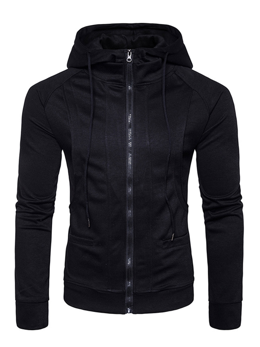 Ericdress Plain Zip Hooded Slim Men's Hoodie