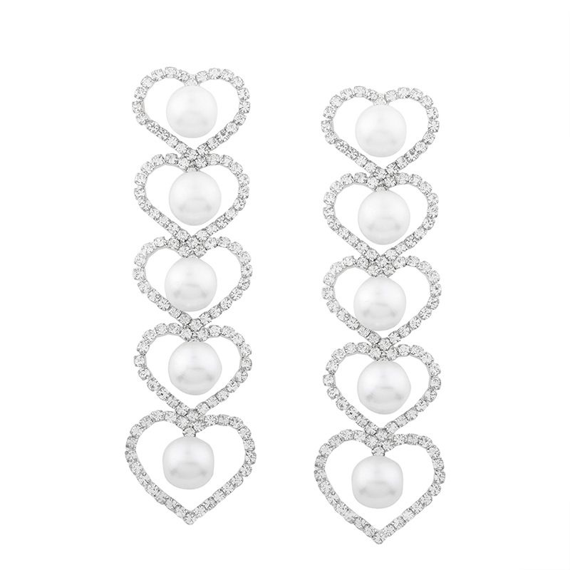 Ericdress Creative Heart Rhinestone&Pearl Women's Drop Earring
