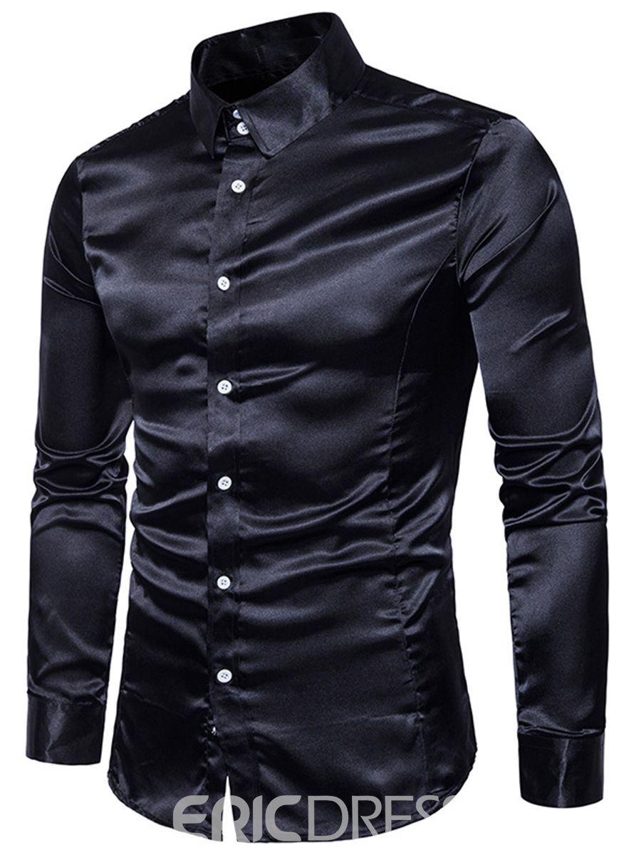 Ericdress Plain Smooth Surface Long Sleeve Slim Men's Shirt