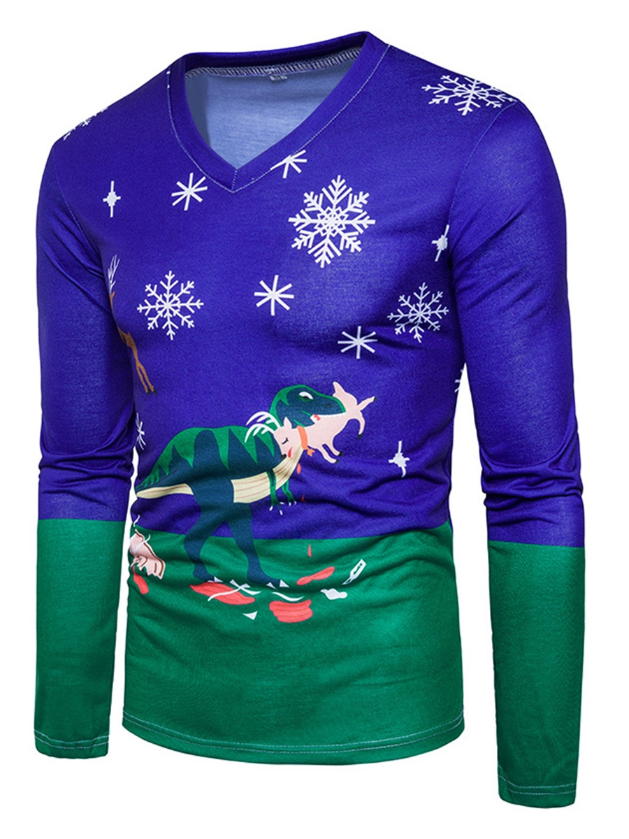 Ericdress V-Neck Print Chrismas Men's T-Shirt