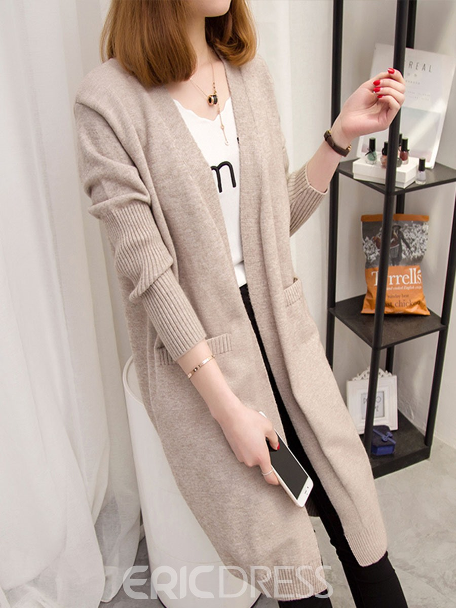 Ericdress V-Neck Plain Mid-Length Cardigan Knitwear