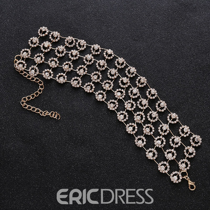 Ericdress Fully Jewelled Hollow Out Choker Necklace Party Accessories