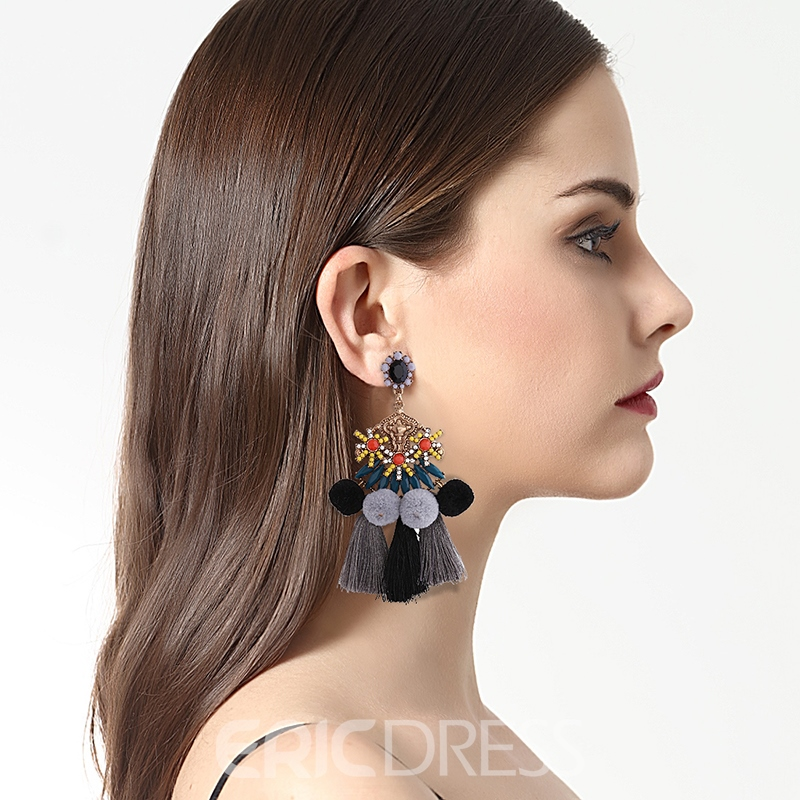 Ericdress National Style Colorful Tassel Fashion Earring