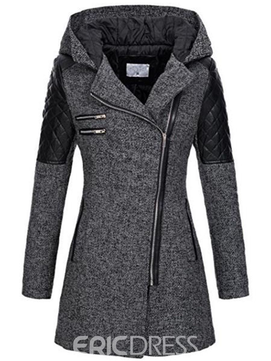 Ericdress Zipper Slim Mid-Length Hooded Jacket