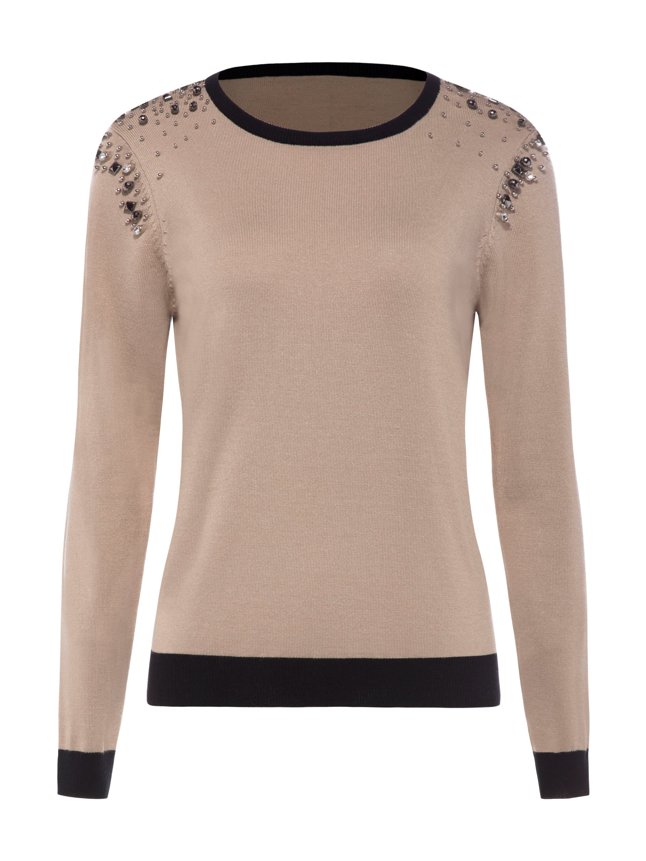 Ericdress Round Neck Beading Decorative Pullover Knitwear
