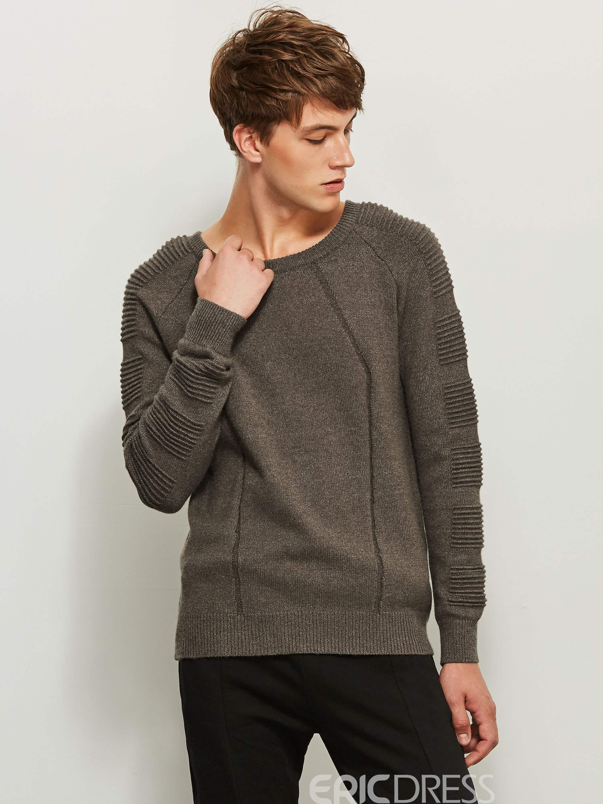 Ericdress Round Neck Solid Color Long Sleeve Men's Sweater