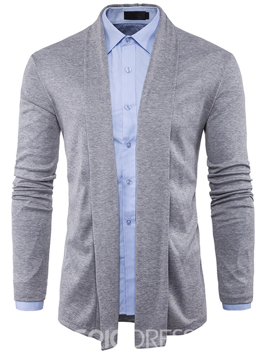 Ericdress Plain Long Sleeve Cardigan Casual Men's Knitwear