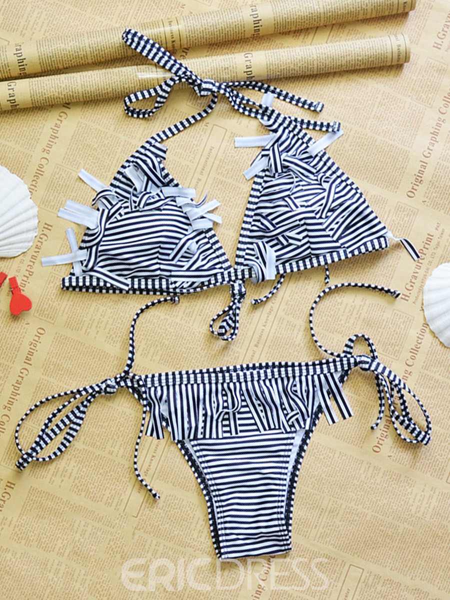 Ericdress Stripe Tassel Lace-Up Bikini Set