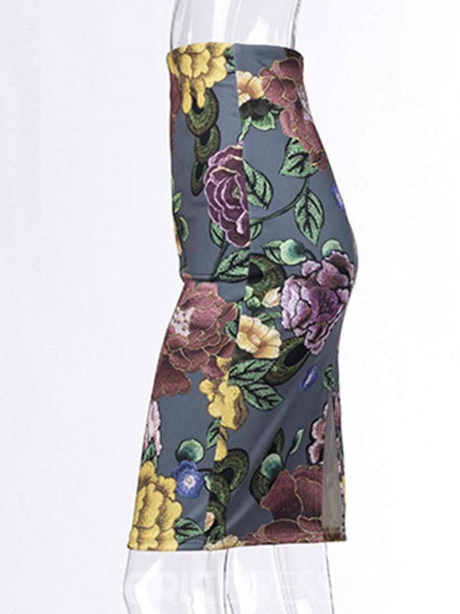 Ericdress Embroidery Floral Knee-Length Skirts