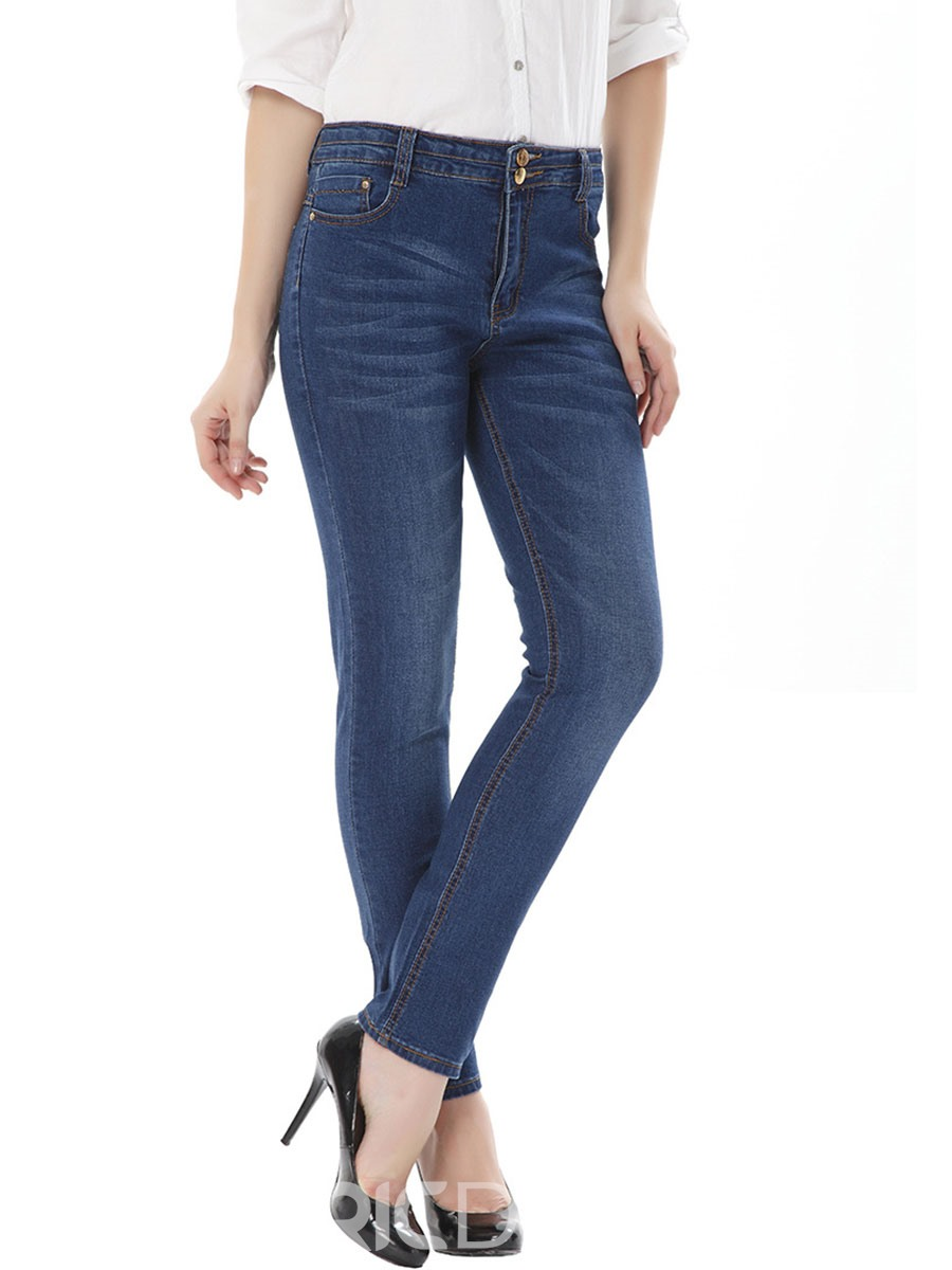 Ericdress High-Waist Large Size Button Jeans