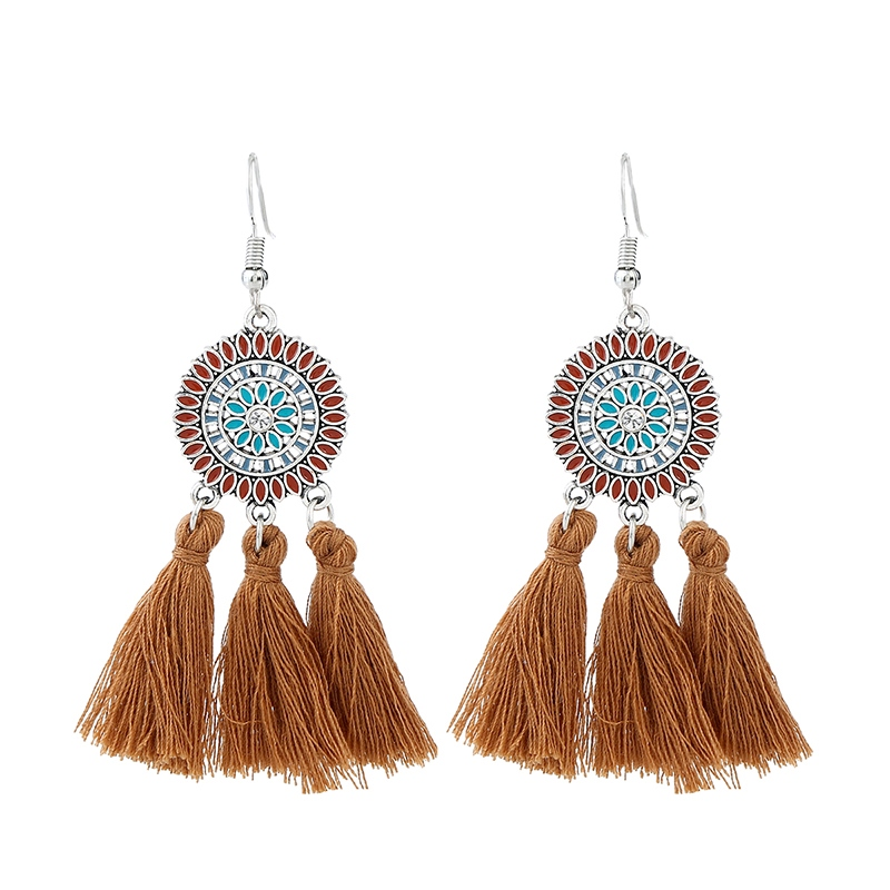 Ericdress Candy Color Rope Tassel National Style Earring