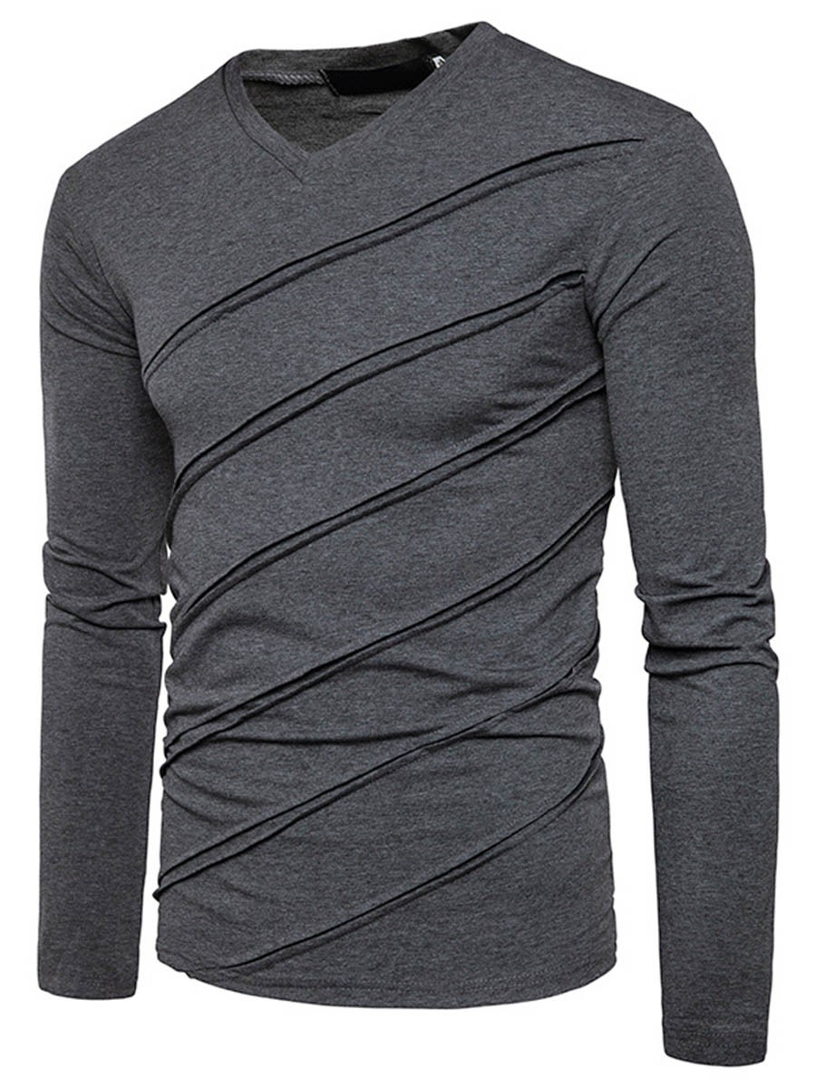 Ericdress Unique Stripe V-Neck Slim Men's T-Shirt