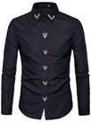 Ericdress Embroidery Anti Wrinkle Long Sleeve Slim Men's Shirt