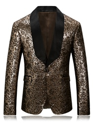 Ericdress One Button Patched Lapel Vogue Slim Mens Blazer