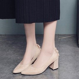 Ericdress Slip-On Plain Chunky Heel Pumps with Bowknot